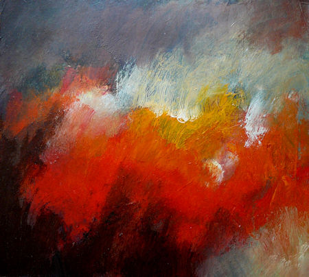 abstract painting red in dark